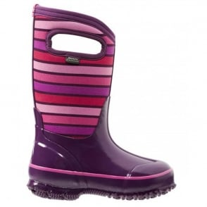 Bogs 71849 Classic Stripes Purple, 100% waterproof wellington for extreme weathers!