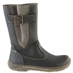 El Naturalista E749 Nido Youth/Adult Black, leather zip up boot with side buckle detail