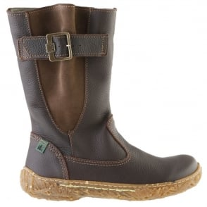 El Naturalista E749 Nido Infant Brown, leather zip up boot with side buckle detail