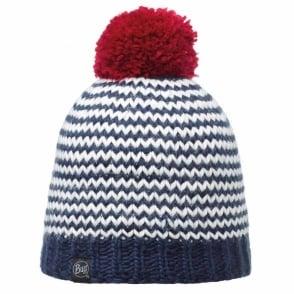 Buff Dorn Hat Navy, Stripy knitted bobble hat with fleece inside