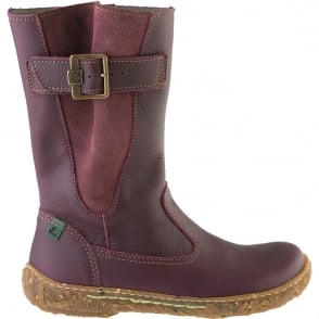 El Naturalista E749 Nido Junior Lila, leather zip up boot with side buckle detail