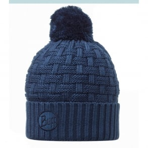 Buff Airon Hat Blue, Chunky knitted bobble hat with fleece inside