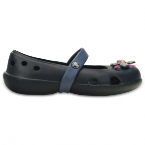 Crocs Girls Keeley Springtime Flat Navy/Bijou Blue, slip on ballet flat shoe