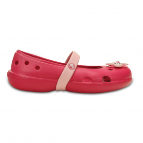 Crocs Girls Keeley Springtime Flat Raspberry/Petal Pink, slip on ballet flat shoe