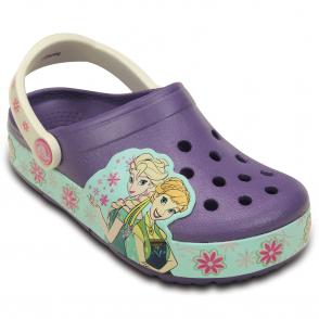 Kids Crocslights Frozen Fever Clog Blue/Violet, the comfort of a classic but with fun LED frozen design!
