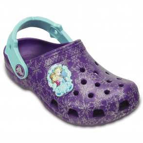 Crocs Kids Classic Frozen Clog Neon Purple, the classic but with a frozen twist!