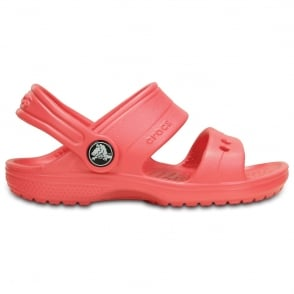 Crocs Kids Classic Sandal Coral, 2 strap sandal with room for Jibbitz
