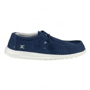 Dude Mens Wally Classic Sea Blue, the slip on shoe with an elastic system