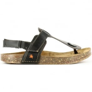 The Art Company 0865 We Walk Toe Post Black, leather toe post sandal with secure back strap