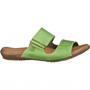 El Naturalista ND75 Wakataua Slide Green, leather slip on sandal