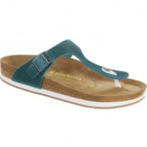 Birkenstock Gizeh 847481 Oiled Leather Turquoise, natural leather upper toe post sandal