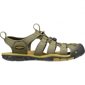 KEEN Mens Clearwater CNX Burnt Olive/Olivenite, a low profile lightened version of the orignal sandal