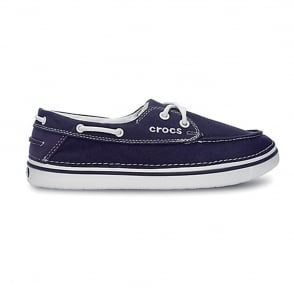Crocs Hover Boat Shoe Womens Nautical Navy, canvas lace up boat style shoe
