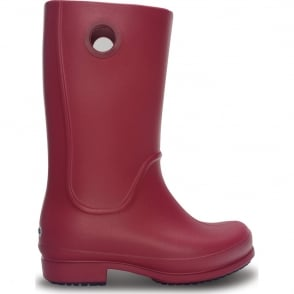 Crocs Girls Wellie Boot Pomegranate, fully molded rain boot