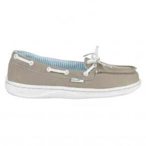 Dude Moka Ladies Deck shoe Beige, lightweight comfort slip on shoe