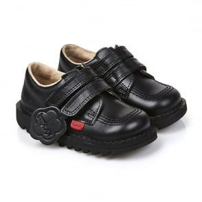 Kickers Kick Lo Velcro Infant Black, smart black leather school shoe