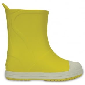 Crocs Kids Bump It Rain Boot Yellow/Oyster, sneaker inspired waterproof rain boot