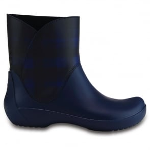 Crocs Rainfloe Graphic Bootie Navy, waterproof ankle wellie boot