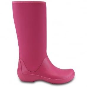 Crocs Rainfloe Tall Boot Berry, womens waterproof tall wellie