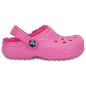 Crocs Kids Classic Lined Clog Party Pink/Candy Pink, all the comfort of the Classic Clog but with a warm fuzzy lining
