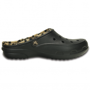 Crocs Freesail Plush Lined Clog Black/Gold (Leopard), slimmer sleeker for a more feminine shape