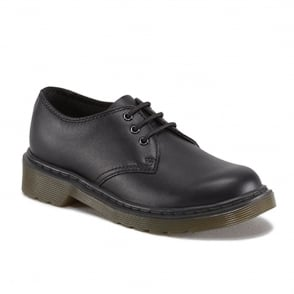 Dr Martens Everley Youth Black, lace up comfort school shoe