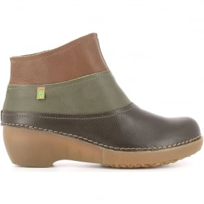El Naturalista NC79 Tricot Brown/Kaki/Wood, multicoloured leather ankle boot