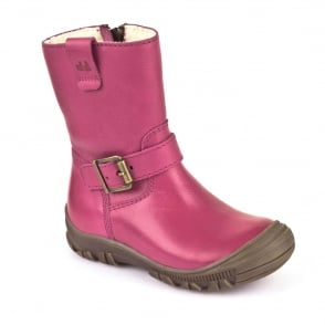 Froddo Waterproof Ankle Boot G3160057-7 Youth Pink, waterproof boot with buckle detail