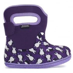 Bogs 720161 Infant Classic Penguins Grape Multi, 100% waterproof wellington boots with snuggly warm lining