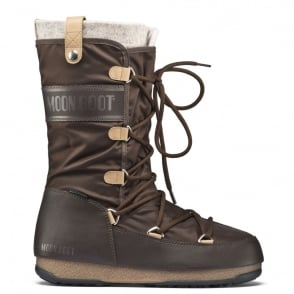 MoonBoot Moon Boots Monaco Felt Dark Brown, Waterproof Iconic Boot