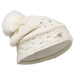 Buff Kids Darsy Knitted & Polar Fleece Hat Star White/Cru, warm and soft hat with fleece lining
