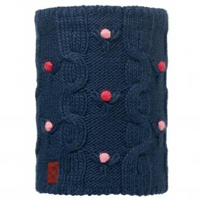Buff Kids Dysha Knitted & Polar Fleece Neckwarmer Dark Navy/Navy, warm and soft neckwarmer with fleece lining