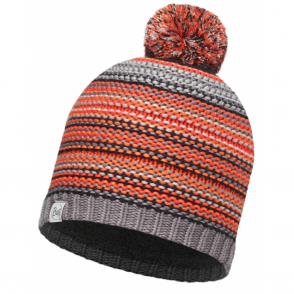 Buff Kids Amity Knitted & Polar Fleece Hat Grey Castlerock/Grey, warm and soft hat with fleece lining