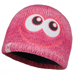 Buff Kids Monster Knitted & Polar Fleece Hat Merry Pink/Raspberry, warm and soft hat with fleece lining
