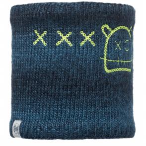Buff Kids Monster Knitted & Polar Fleece Neckwarmer Jolly Dark Navy, warm and soft neckwarmer with fleece lining