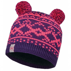 Buff Kids Novy Knitted & Polar Hat Plum/Grey, warm and soft hat with fleece lining