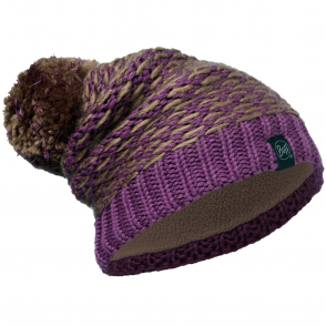 Buff Kirvy Knitted & Polar Fleece Hat Fossil/Brown, warm and soft hat with fleece lining