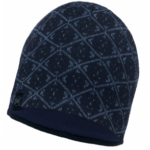 Buff Ardal Knitted & Polar Fleece Hat Dark Navy/Navy, warm and soft hat with inner fleece band