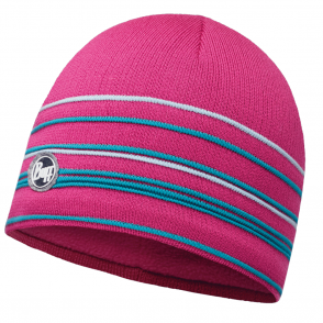 Buff Stowe Knitted & Polar Fleece Hat Pink Azalea/Mardi Grape, warm and soft hat with inner fleece band