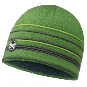 Buff Stowe Knitted & Polar Fleece Hat Green/Grey, warm and soft hat with inner fleece band