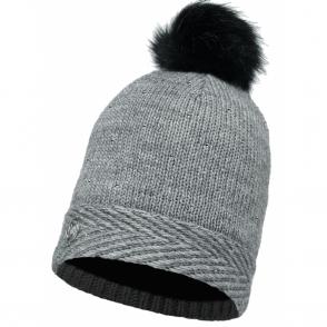 Buff Aura Knitted & Polar Fleece Hat Chic Grey/Grey, warm and soft hat with inner fleece band
