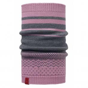 Buff Mawi Merino Wool Knitted Neckwarmer Lilac Shadow, warm and soft merino wool neckwarmer