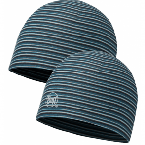 Buff Reversible Microfiber Hat Stripes Blue, ideal for outdoor activities or a base layer to protect from the cold
