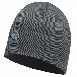Buff Microfiber Polar Hat Grey Stripes/Black Fleece, warm and soft, ideal for winter activities