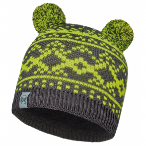 Buff Kids Novy Knitted & Polar Hat Grey, warm and soft hat with fleece lining
