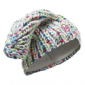 Buff Yssik Knitted & Polar Fleece Hat Star White, warm and soft hat with inner fleece band