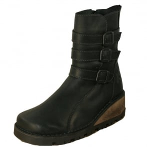 Oxygen Ystwyth Boot Black, Mid height wedge leather boot