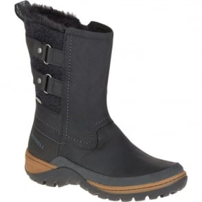 Merrell Womens Sylva Mid Buckle WP Black, waterproof ankle boot with buckle detail