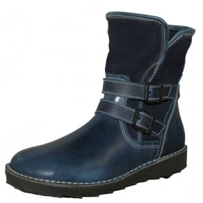Oxygen Liffey Boot Blue, Mid height leather boot