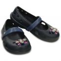 Crocs Girls Keeley Springtime Flat Navy/Bijou Blue, slip on ballet flat shoe